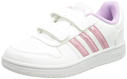adidas Hoops 2.0 CMF Sneaker, Cloud White/Clear Lilac/Grey, 33 EU