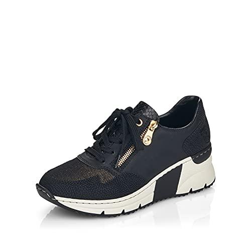 Rieker Damen Low-Top Sneaker N6301, Frauen Sneaker,lose Einlage,Turnschuhe,Laufschuhe,Freizeit,sportlich,Women's,Woman,Lady,schwarz (00),38 EU / 5 UK