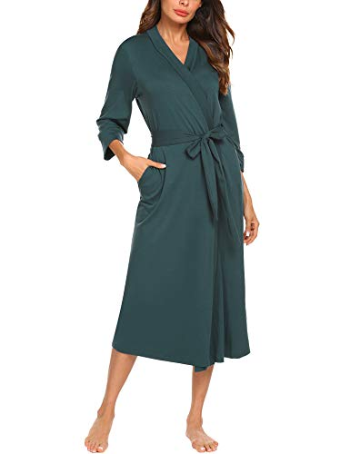 UNibelle Morgenmantel Leicht Damen Kimono Sauna Bademantel Baumwolle Lang Hausmantel Pyjama Nachthemd Mittel L A-dunkelgrün