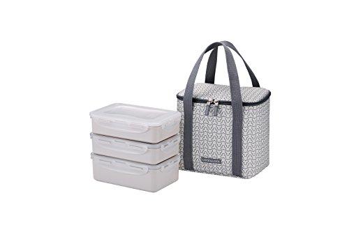 LOCK & LOCK Picknick Box Set mit Transport-Tasche creme-weiß - 2er Lunchbox unterteilt & auslaufsicher - Vesperdosen stapelbar, 2 Picknickboxen á 1 l