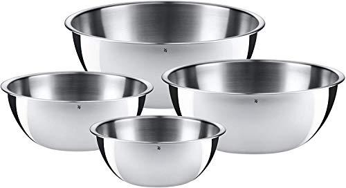 WMF Gourmet Schüsselset 4-teilig, Edelstahl Schüsseln für die Küche 0,75l - 2,75l, Rührschüssel, Salatschüssel, Servierschüssel, Cromargan, stapelbar