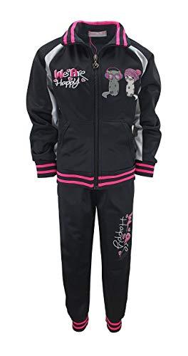 Sports Girls Mädchen Trainingsanzug Sweatanzug Freizeitset, Sweat-Jacke + Jogginghose in Schwarz, Gr. 104, MF03.4