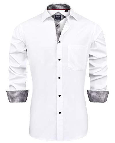 J.Ver Herren Hemd Regular Fit Langarm Herrenhemden Freizeithemd Regular Businesshemd elastiscer Musterhemd, B-weiß, L