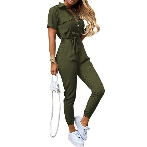 Damen Elegant Sommer Jumpsuit Kurzarm Playsuit Vintage Knopf T-Shirt Tops Hose mit Bund Damen Ausgehkleider Latzhose Casual Outfits Anzug S-3XL, armee-grün, 38