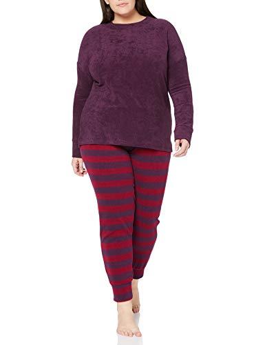 Schiesser Damen Frottee Anzug Lang Pyjamaset, Pflaume, 44