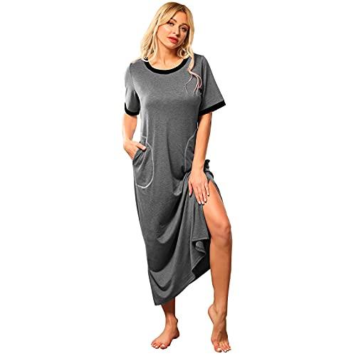 LVCBL Damen Nachthemd Lange Nachthemden für Frauen Split Nightdress Maxikleid Shopping Grey 3XL