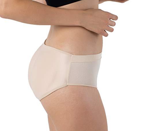 Formeasy Damen Po Push-Up Unterhose | Push Up Höschen | Padded Butt Shaper Slip/Panty Nahtlos Gepolsterte Seamless Unterwäsche (Beige, S/M)