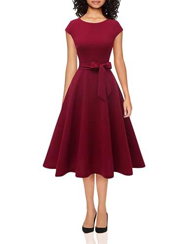 DRESSTELLS Abendkleid kurz elegant Retro Rockabilly Kleid Damen festlich Cocktailkleid Burgundy M