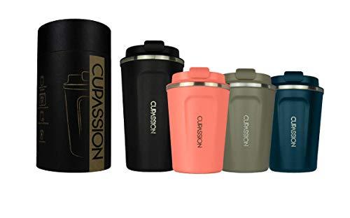 CUPASSION Ecology - Thermobecher Flamingo Pink 350ml | Kaffeebecher | auslaufsicher | doppelwandiger Edelstahl | Coffee to-go | Tee Isolierbecher | Travel Mug
