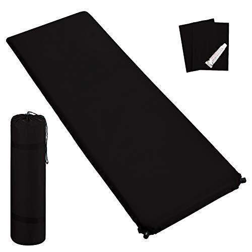 Outdoor Isomatte, selbstaufblasend, ca. 2 m Länge, inkl. Flick Set - selbstaufblasbare Luftmatratze geeignet zum Camping und fürs Zelt mit kleinem Packmaß (schwarz, 6 cm Polsterdicke)