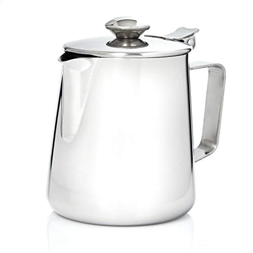 Kerafactum Kaffeekännchen Kännchen für Kaffee aus Edelstahl   Milchkännchen Sahnekännchen Teekanne Kaffeekanne   Sahne Kanne mit Deckel für Milch Tee Kaffee  Pitcher Milk can Henkelkanne 1000 ml
