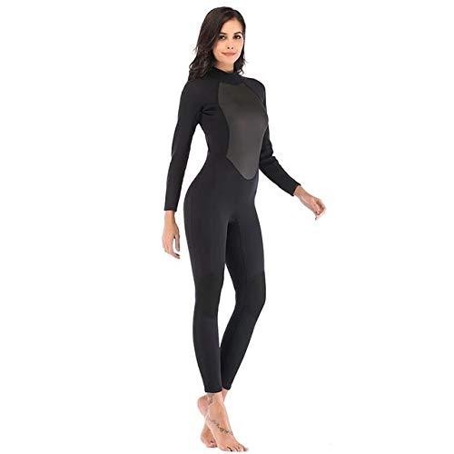 Z.L.FFLZ Nadelanzug Frauen Wetsuit Voll 3mm Neopren Surfen Tauchen Schnorcheln Schwimmen Anzug Solid Black/Grau Langarm Neoprenanzug Rückseite Reißverschluss (Color : A1, Size : XL)