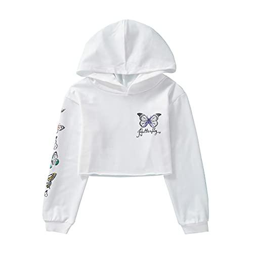 Alvivi Mädchen Sweatshirt Schmetterling Langarmshirt Crop Tops Bauchfrei Oberteile Kinder Hoodie Pullover Pulli Streetwear Gr.98-176 Aa Weiß 134-140