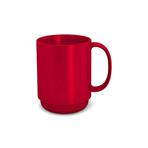 Ornamin Becher mit Henkel 300 ml rot (Modell 510) / Mehrweg-Becher Kunststoff, Kaffeebecher