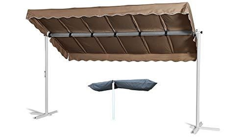 GRASEKAMP Qualität seit 1972 Standmarkise Dubai Taupe 375 x 225 cm mit Schutzhülle Terrassenüberdachung Raffmarkise Mobile Markise Ziehharmonika