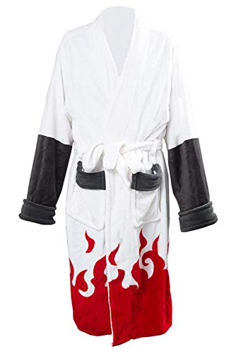 Karnestore Herren Namikaze Minato Akatsuki Kimono Bademantel Robe Fleece Winter Lounge Kragen Schal Pyjama Nachtwäsche
