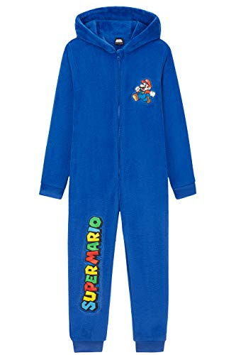 Unbekannt Super Mario Jumpsuit Kinder, Onesie Kinder und Jungen Blau Kostüm, Kinder Fleece Schlafanzug, Bequeme Overall Einteiler für Jungen 4-15, Geschenke für Kinder (Blau, 9-10 Jahre)
