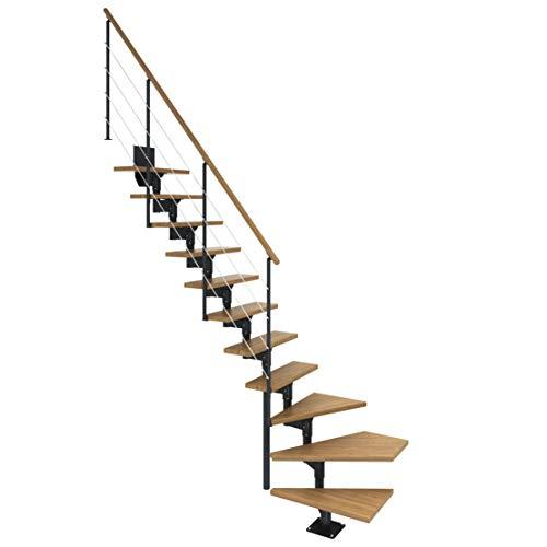 DOLLE Mittelholmtreppe Boston | 11 Stufen | Geschosshöhe 228 – 300 cm | ¼-gewendelt | Eiche, lackiert | Unterkonstruktion: Anthrazit (RAL 7016) | volle Stufen 70 cm | inkl. Geländer | Nebentreppe
