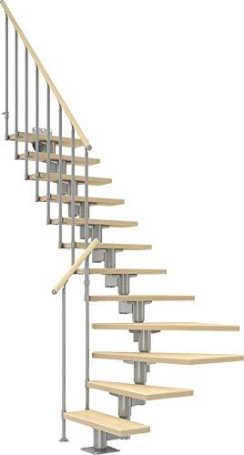DOLLE Raumspartreppe mit Birke Multiplex Stufen | 11 Stufen |1/4-gewendelt |Geschosshöhe 222-270 cm |Mittelholmtreppe | Innentreppe | Holztreppe | Bausatz |Extra breite Stufen |inklusive Geländer