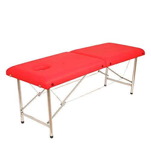 HE-XSHDTT Neues tragbares Klappmassagebett aus Edelstahl, Warmer Moxibustionstisch, Physiotherapiebett im Beauty Spa, Rot