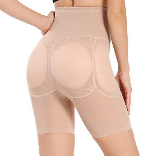 Joyshaper Damen Butt Lifter Unterhose Padded Höschen Hüfte Push Up Miederhose Gepolstert Hip Enhancer Shapewear Figurformender Miederpant Nahtlos Miederslip (Beige, M)