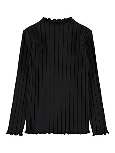 NAME IT Mädchen NKFNORALINA LS Slim TOP NOOS Langarmshirt, Black, 134-140