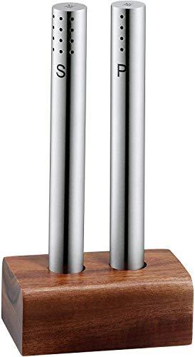 WMF Salz- und Pfefferstreuer-Set 2-teilig Salzsteuer Pfefferstreuer Akazienholz mattiert Glas Handwäsche