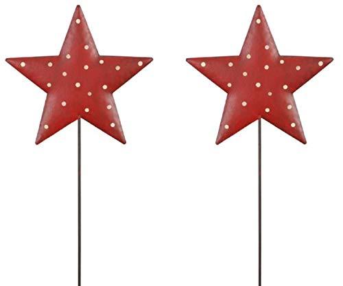 HSM weihnachtlicher stimmungsvoller Garten-Stecker Stern am Stab Dekostern Weihnachtsstern Metall rot mit weißen Punkten antikfinish Shabby Preis für 2 Stück