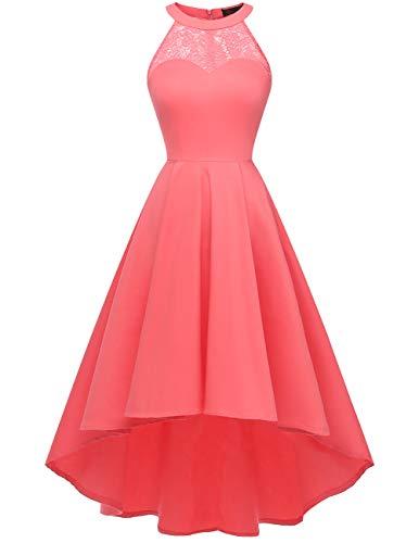 DRESSTELLS Damen 50er Vintage Rockabilly Kleid Neckholder Cocktailkleid Vokuhila Festliche Kleider für Hochzeit Coral M