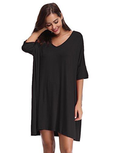 Aibrou Damen Nachthemd Nachtkleid Kurz Sommer Nachtwäsche Negligee Umstandskleid Stillnachthemd Sleepshirt aus Modal Schwarz M