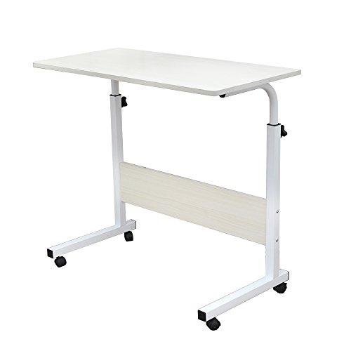 sogesfurniture höhenverstellbar Laptoptisch Laptopständer Computertisch mit Rollen, mobiler Beistelltisch Pflegetisch für Bett und Sofa, 80 * 40 * 71-90cm, Weiß Ahorn 05#1-80MP-BH