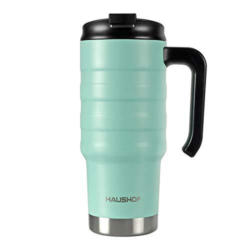 HAUSHOF Isolierbecher Thermobecher 700 ml Kaffeebecher Reisebecher XL mit Doppelwand-Vakuum aus Edelstahl mit Deckel und Griff für Auto Büro Unterwegs BPA Frei