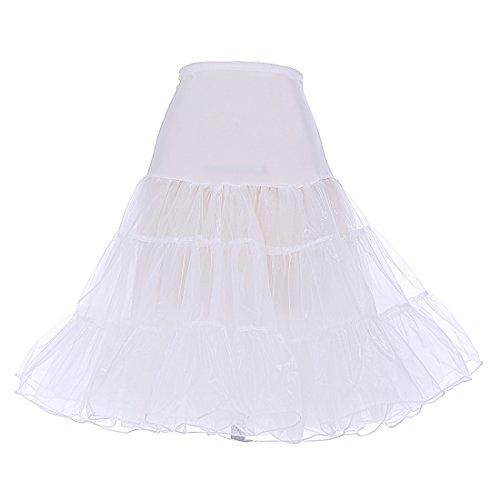 DRESSTELLS Damen 1950er Vintage Rock Rockabilly Petticoat Reifrock Unterrock für Rockabilly Kleid Ivory S