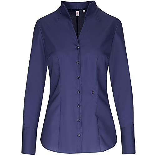 Seidensticker Damen Bluse – Bügelfreie, schmal taillierte Hemdbluse mit Kelchkragen und Kragen-Ausschnitt – Langarm – 100% Baumwolle, Blau (Dunkelblau 18), 42