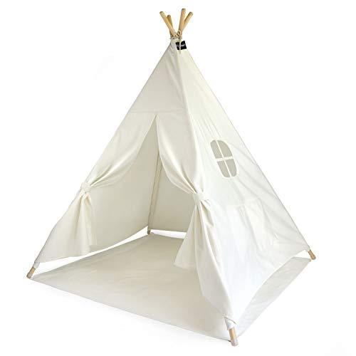 Hej Lønne Kinder Tipi, weißes Zelt, circa 120 x 120 x 150 cm groß, Spielzelt mit Bodendecke und Fenster, inkl. Beutel und Anleitung, für drinnen und draußen, schadstofffrei