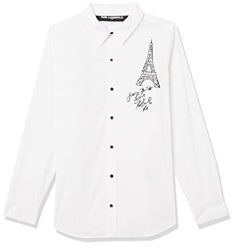 KARL LAGERFELD Paris Damen Embroidered Eiffel Tower Blouse Button Down Hemd, Weiß (Soft White), Mittel