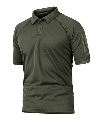 KEFITEVD Bundeswehr T-Shirt Herren Kurzarm Sommer Leicht T-Shirt mit Knopfleiste Casual Freizeitshirt Männer Sport Fitness Poloshirt Dunkeloliv 2XL