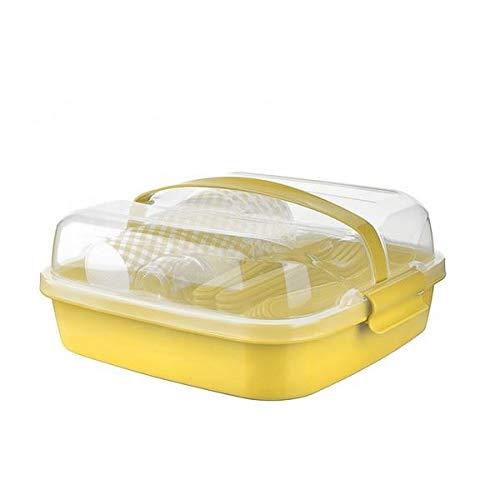 BEFA Picknick Set 6 Personen   BPA Freies Gesundes Plastik   Plastikbesteck Gabel, Messer, Löffel, Teller, Becher, Salzstreuer   Picknickkorb   Picknicktasche (Gelb)