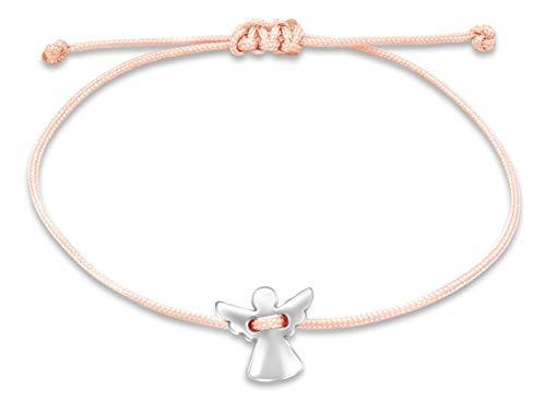 Nuoli® Schutzengel Armband Damen Silber (verstellbar bis 20cm) Engel Armbändchen für Frauen & Mädchen, aus rosa Stoff mit Metall Anhänger