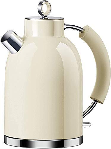 Wasserkocher Edelstahl, ASCOT 1.6 Liter Elektrischer Wasserkocher, BPA frei, Schnurlos mit 2200 Watt, Automatisch Abschaltung, Retro Design Kleiner Reisewasserkocher, Kompakter Teekocher,Beige