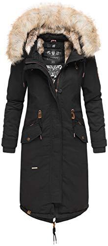 Navahoo Premium Damen Winter Jacke Parka Mantel Winterjacke warm Kunstfell B665 [B665-Kin-Schwarz-Gr.S]
