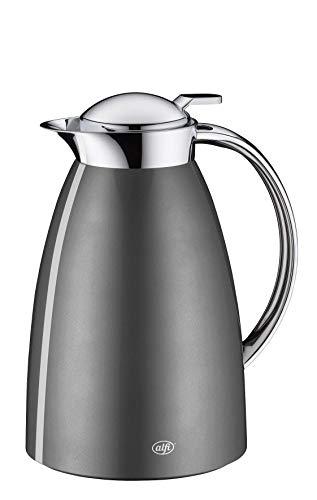 alfi Gusto, Thermoskanne Edelstahl grau 0,65L, alfiDur Glaseinsatz, auslaufsicher, Isolierkanne hält 12 Stunden heiß, 3561.218.065 ideal als Kaffeekanne oder als Teekanne, Kanne für 5 Tassen