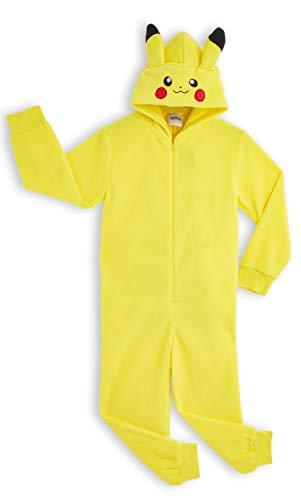 Pokémon Pikachu Schlafanzug, Kinder Jumpsuits Kostüm Tier Pyjama Onesie, Kuscheliger Kigurumi, Kostüm Kinder Jungen, Faschingskostüme, Perfektes Lustige Geek Cosplay Geschenk (7-8 Jahre)