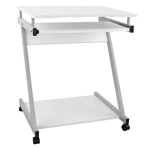 VASAGLE Schreibtisch, Computertisch mit 4 Rollen, 2 Davon mit Bremsen, PC-Tisch leichtgängiger Tastaturauszug, erleichterte Montage, platzsparender PC-Tisch in Z-Form, weiß, LCD811W