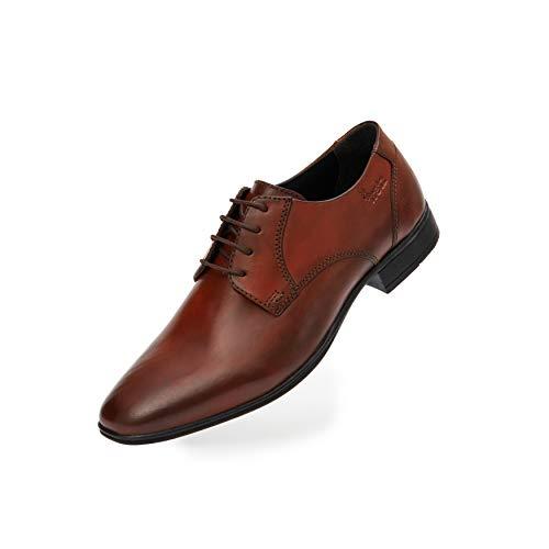 FRETZ men Samuel   Elegante Lederschuhe in Cognac für Herren   weiches Leder, komfortable Passform   weiches Fußbett, hochwertige Sohle   Anzugschuhe, Business & Freizeit   Größe 43