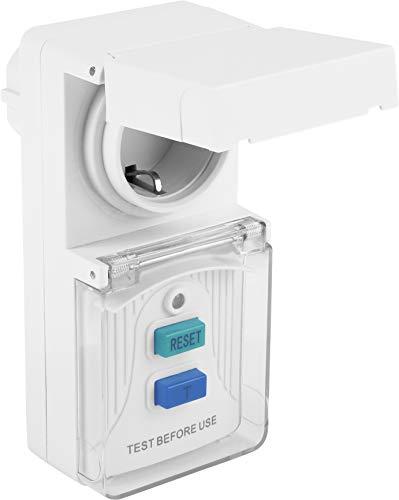 Meister Personenschutz-Adapter - 3600 W - Mit Schuko-Steckplatz - Mit Testschaltung & Reset-Taste - IP44 Außenbereich / Personenschutzstecker / Fehlerstromschutz / PRCD-Stecker / 7474190