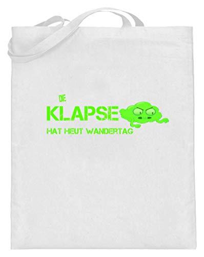 SPIRITSHIRTSHOP Die Klapse Hat Heut Wandertag. - Klapsmühle, Psychiatrische Anstalt, Irrenhaus, Irren - Jutebeutel (mit langen Henkeln) -38cm-42cm-Weiß