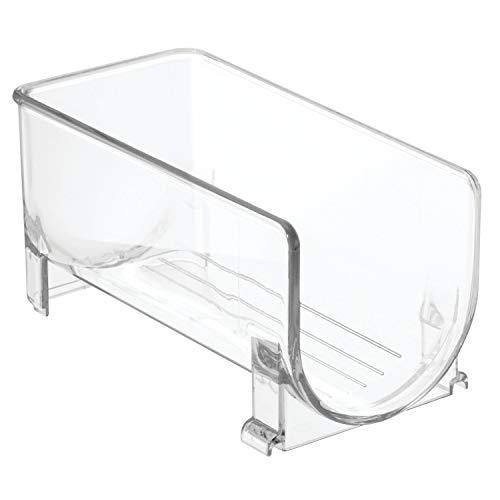 InterDesign Fridge/Freeze Binz Weinregal für 1 Flasche, stapelbarer Flaschenhalter aus Kunststoff, durchsichtig