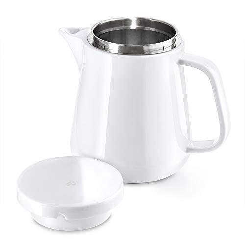 Tchibo Kaffeebereiter/Kanne (Porzellan, Permanentfilter aus Edelstahl, 800 ml, weiß)