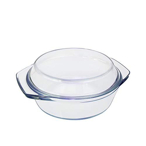 Auflaufform Glas Kleine Auflaufformen Rund mit Deckel 1L 1 Person Glasbackform Kasserolle & Griffe Individuelle Glasbräter zum Kochen Transparent Runde Glastopf zum Braten aus Hitzebeständigem Glas